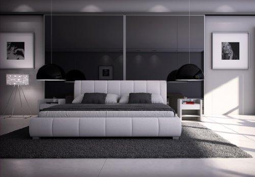 SAM Polsterbett Innocent 180x200 cm Designbett Latina in weiß, Kopfteil im abgesteppten Design, als Wasserbett geeignet