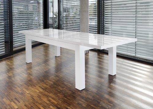 SalesFever Esstisch 180x90 cm ausziehbar weiß hochglänzend Luke