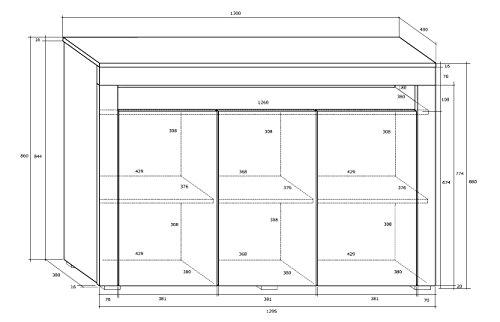 Kommode SOFIA Sideboard Highboard mit Türen Mit LED !!! (weiß matt / weiß halbglanz)