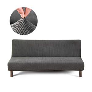 Cornasee Jacquard Sofabezug 3 sitzer ohne armlehne - elastisch gestrickte Schonbezug Sofahusse für Schlafsofa/Clic Clac, Grau
