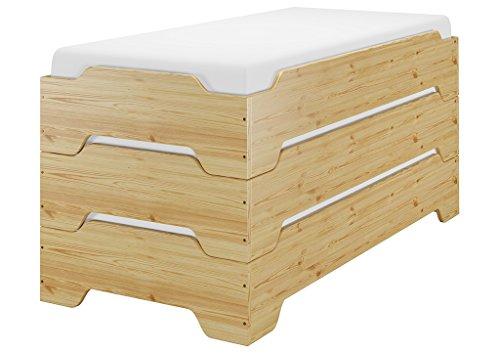 Erst-Holz® Stapelbett, Jugend Bett, Designer Bett 90x200 Massivholz Kiefer mit Rollrost 60.56-09