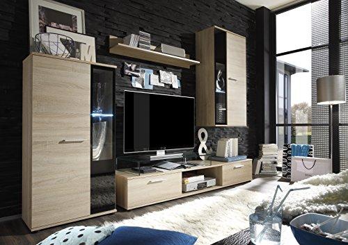 trendteam Wohnzimmer Anbauwand Wohnwand Salsa, 241 x 180 x 40 cm in Eiche Sägerau Hell Dekor mit LED Glasbodenbeleuchtung in Warm Weiß