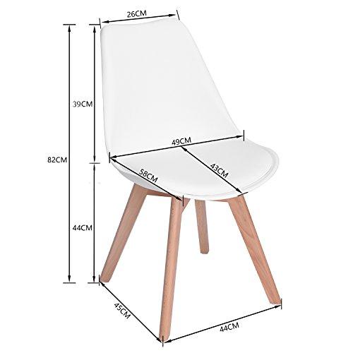 EGGREE 4er Set Esszimmerstühle mit Massivholz Buche Bein, Retro Design Gepolsterter Stuhl Küchenstuhl Holz, Weiß, Kostenloses Geschenk Filzgleiter für Stühle x 8pcs
