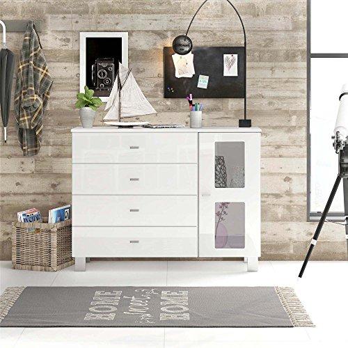 Sideboard Kommode Denjo V2, Korpus in Weiß matt / Schubkästen und Tür in Weiß Hochglanz