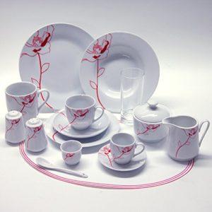 Retsch Arzberg Mohnblume Kombiservice rund 100 teilig für 8 Personen / Porzellan / weiß mit rotem Mohnblumen-Dekor