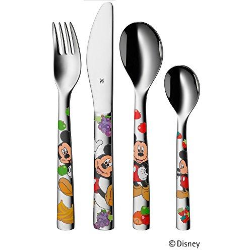 WMF Disney Mickey Mouse Kindergeschirr, mit Kinderbesteck, 6-teilig, ab 3 Jahren, Cromargan Edelstahl poliert, spülmaschinengeeignet, farb- und lebensmittelecht