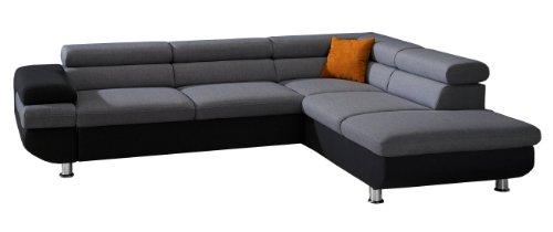 CAVADORE Ecksofa Caponelle mit Bett und Bettkasten/Moderne zweifarbige Couch inkl. Kopfstützen/267 x 72 x 226 cm (BxHxT)/Strukturstoff schwarz - grau