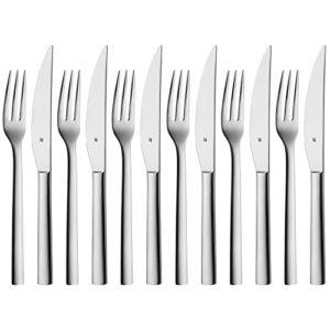 WMF Nuova Steakbesteck Set, 12-Teilig, Steakgabel Steakmesser für 6 Personen, Cromargan Edelstahl Poliert, spülmaschinengeeignet
