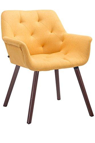 CLP Esszimmerstuhl CASSIDY mit Stoffbezug und sesselförmigem gepolstertem Sitz | Retrostuhl mit Armlehne und einer Sitzhöhe von 45 cm | In verschiedenen Farben erhältlich Gelb, Gestellfarbe: Walnuss