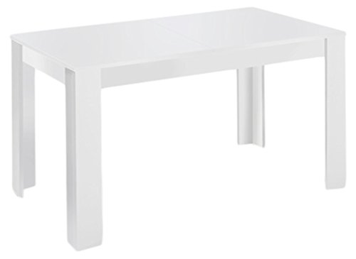 CAVADORE Tisch NICK/Moderner Esstisch 160 cm mit ausziehbarer Tischplatte auf 200 cm/Auszugstisch Melamin Weiß/Küchentisch in weiß/160-200 x 90 x 75 cm (L x B x H)