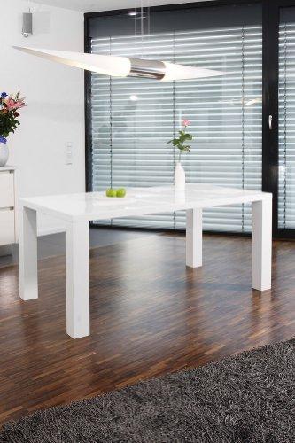 SalesFever Essgruppe Tisch 180x90 cm weiß mit 6 Stühlen Lio aus Kunstleder Luke Stühle weiß