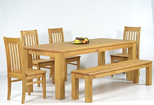 Sitzgruppe Garnitur mit Esstisch 160x90cm + 4 Stühle Klassic + 1 Bank 140x38cm Pinie Massivholz, geölt und gewachst, Farbton Honig