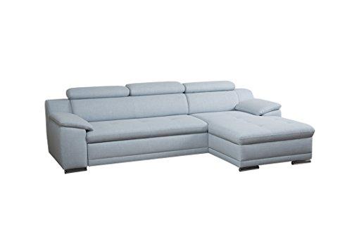 Cavadore Ecksofa Aniamo mit XL-Longchair rechts / Inkl. verstellbarer Kopfteile und Wellenunterfederung / Sitzecke für Wohnzimmer / Größe: 270 x 80 x 165 cm (BxHxT) / Farbe: Eisblau (hellblau)