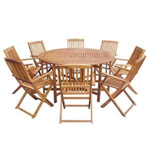 lingjiushopping Outdoor Esstisch Set 9-teilig Akazienholz zusammenklappbar Farbe: Braun Material: Massivholz Akazie (Öl beendet)