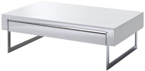 Robas Lund, Couchtisch, Wohnzimmertisch, Cooper, Hochglanz/weiß, 110 x 70 x 40 cm, 58133CW2