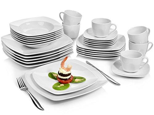 Sänger Kombiservice 'Markant' 30 teilig aus Porzellan | Geschirrset beinhaltet Speise-, Suppen-, Desserttellern sowie passende Tassen (175 ml) und Untertassen | Geschirrservice für bis zu 6 Personen