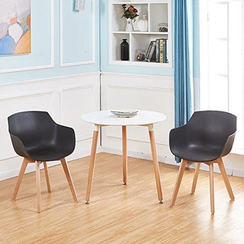 EGGREE 4er Set Esszimmerstühle Skandinavisch mit Armlehne und Starke Buche Stuhlbeine, Modern Design Sessel für Büro Küche Wohnzimmer,Schwarz