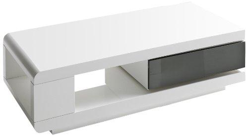 Robas Lund, Couchtisch, Wohnzimmertisch, 360 Grad drehbar, Hochglanz/weiß, 120 x 60 x 36 cm, 59031WG4