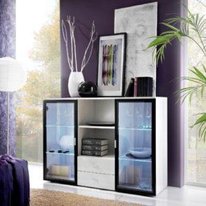 SENA FURNITURE- SIDEBOARDS Modernes Lounge Wohnzimmer Sideboard–Quadro weiß & schwarz Farbe mit LED-Beleuchtung.