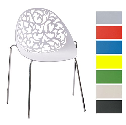 CLP Design Retro Stapelstuhl FAITH aus Kunststoff mit stabilem Metallgestell | Platzsparender Stuhl mit pflegeleichter Sitzfläche und einer Sitzhöhe von 45 cm Weiß