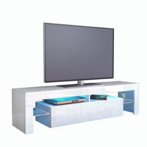 TV Schrank Lowboard Fernsehschrank Fernsehtisch Wohnzimmer Lima, Korpus in Weiß / Front in Weiß Hochglanz