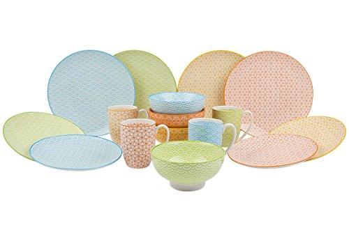 vancasso Natsuki 16-Teilig Porzellan Kombiservice, mit je 4 Speiseteller Ø 27 cm, Dessertteller Ø 21,5 cm, Müslischalen Ø 15,2 cm und Kaffeebecher 380 ml