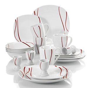 Malacasa, Serie Felisa, 20 teilig Set Porzellan Kombiservice mit 4 Flachteller, 4 Kuchenteller, 4 Müslischale, 4 Becher und 4 Eierbecher