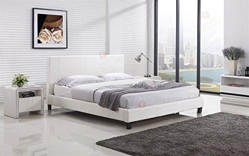 i-flair Designerbett #88 - Alle Farben und Größen (160x200 cm, Weiß)