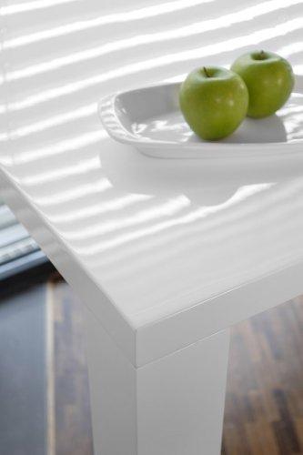 Ess-Tisch weiß Hochglanz aus MDF 180x90cm recht-eckig | Luca | Moderner Küchen-Tisch aus MDF-Holz weiss 180cm x 90cm | Vierfußtisch Hochglanz weiß lackiert | Designer Esszimmertisch mit strahlender weißer Farbe
