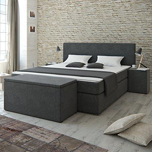 Designer Boxspringbett 180x200 Doppelbett Polsterbett Bett Hotelbett mit Konsole und Aufbewahrungsbox im Set (Bett 180x200+Konsolen+Box-grau)