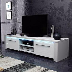 TV Schrank Lowboard Sideboard CONOY mit LED (Weiß Matt / Weiß Hochglanz)