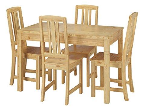 Erst-Holz® Vollholz-Essgruppe mit Tisch und 4 Stühle Kiefer Massivholz Natur 90.70-51 B-Set 22