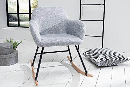 Design Schaukelstuhl BALTIC hellgrau Schaukelsessel Scandinavian Design Sessel Stuhl Wohnzimmersessel