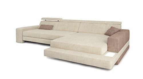 Eckcouch Sofa Couch Stoff Wohnlandschaft modern Designsofa Ecksofa L-Form mit LED-Licht Beleuchtung IMOLA III