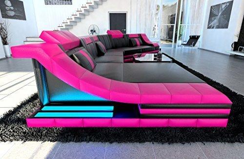 XXL Wohnlandschaft Turino CL Form schwarz-pink Sofa Couch Ecksofa Ledersofa Designersofa Ledercouch LED Licht beleuchtung Kopfstützen uvm.