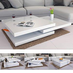Deuba® Couchtisch Hochglanz weiß | 360° drehbar | Cube Design | modern | 80 x 80 cm - Wohnzimmertisch Beistelltisch Design Lounge Tisch Sofatisch