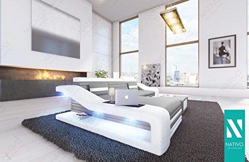 MIRAGE MINI KUNSTLEDER SOFA mit LED Beleuchtung NATIVO© Sofa Couch Wohnlandschaft