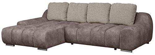 Cavadore 5150 Polsterecke Bonoli, 3-Sitzer links, Longchair rechts, 291 x 70 x 174 cm, Callisto nougat 480 mit Kissen, Martha macciato 85