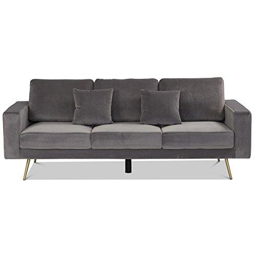 Homy Sofa 3-Sitzer grau Stoff Samt Velvetbezug 2 Kissen Armlehnen Polstersofa 3-er - Tician