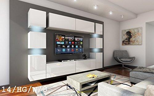 FUTURE 14 Wohnwand Anbauwand Wand Schrank Möbel TV-Schrank Wohnzimmer Wohnzimmerschrank Hochglanz Weiß Schwarz LED RGB Beleuchtung (14/HG/W/8, RGB)