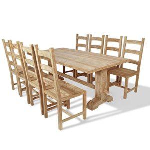 vidaXL Teak Massivholz 9-tlg. Essgruppe Sitzgruppe Esstischset Tisch mit Stühlen