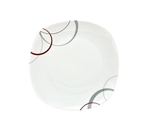 Kombiservice Palazzo 62tlg. - weißes Porzellan mit Kreise- Dekor in grau und dunkelrot - für 6 Personen