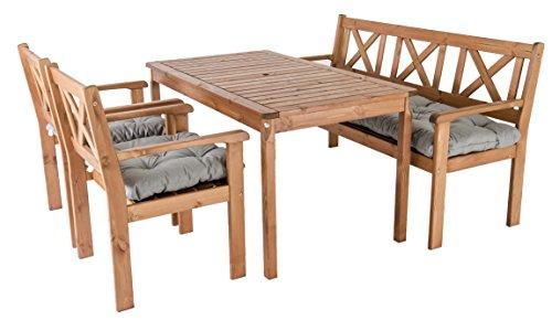 Ambientehome Garten Sitzgruppe Essgruppe Massivholz EVJE, braun, 7-teiliges Set