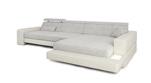 ecksofa couch l form wei grau platin leder wohnlandschaft stoff sofa modern eckcouch. Black Bedroom Furniture Sets. Home Design Ideas