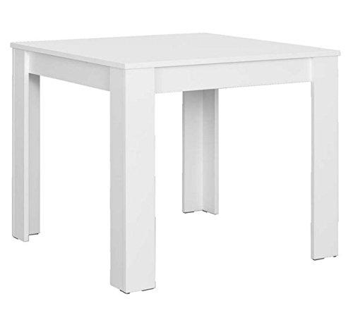 CAVADORE Tisch NICK/kleiner, praktischer Küchentisch 80 x 80 cm aus Melamin Weiß/Esstisch in weiß/Resistent gegen Schmutz/80 x 80 x 75 cm (L x B x H)