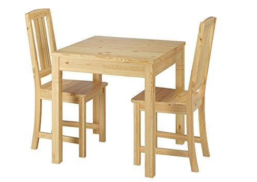 Erst-Holz® Schöne Essgruppe mit Tisch und 2 Stühle Kiefer Natur Massivholz 90.70-50 B -Set 22