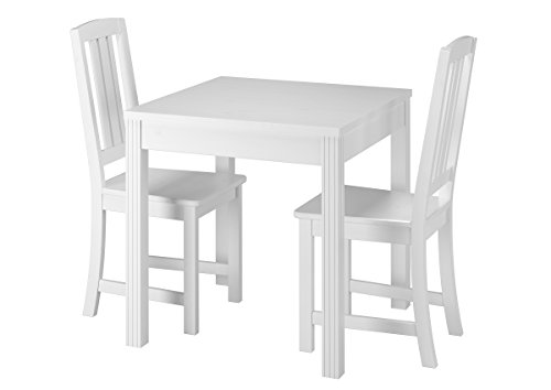 Erst-Holz® Schöne Essgruppe mit Tisch und 2 Stühle Kiefer Massivholz waschweiß 90.70-50 C W-Set 22