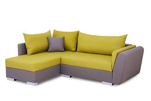 B-famous 100750 Polsterecke mit Bettfunktion und Bettkasten Ecksofa, Stoff, grau / grün, 161 x 224 x 83 cm