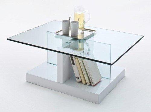 Robas Lund 58643W18 Couchtisch Lea aus Glas, Sicherheitsglas - Säule, 90 x 65 x 35 cm, Boden MDF Hochglanz weiß