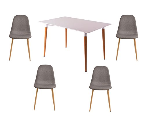 SalesFever Moderne 5-tlg. Tischgruppe, Bestehend aus 1x Tisch und 4X Stoffstühlen, Tischplatte in Matt-Weiß, Stühle aus Stoffbezug in Grau, Tisch- und Stuhlbeine aus Metall